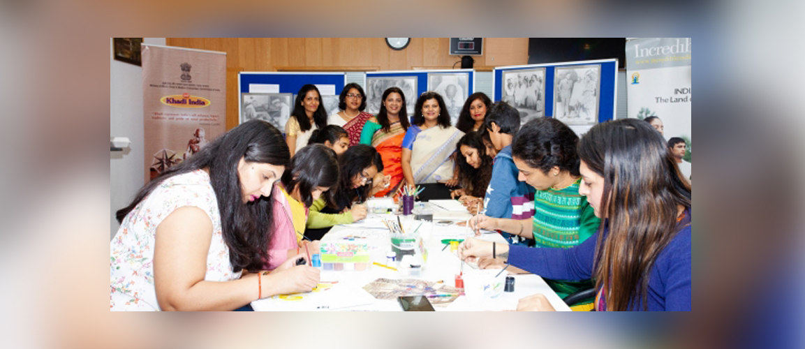 A Madhubani painting workshop was organized at the Consulate premises for the participants with the theme of Mahatma Gandhi to mark the 150th Birth Anniversary of the father of the nation, Mahatma Gandhi this year,.